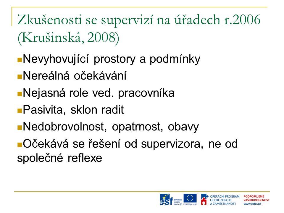 Zkušenosti se supervizí na úřadech r.2006 (Krušinská, 2008) Nevyhovující prostory a podmínky Nereálná očekávání Nejasná role ved.