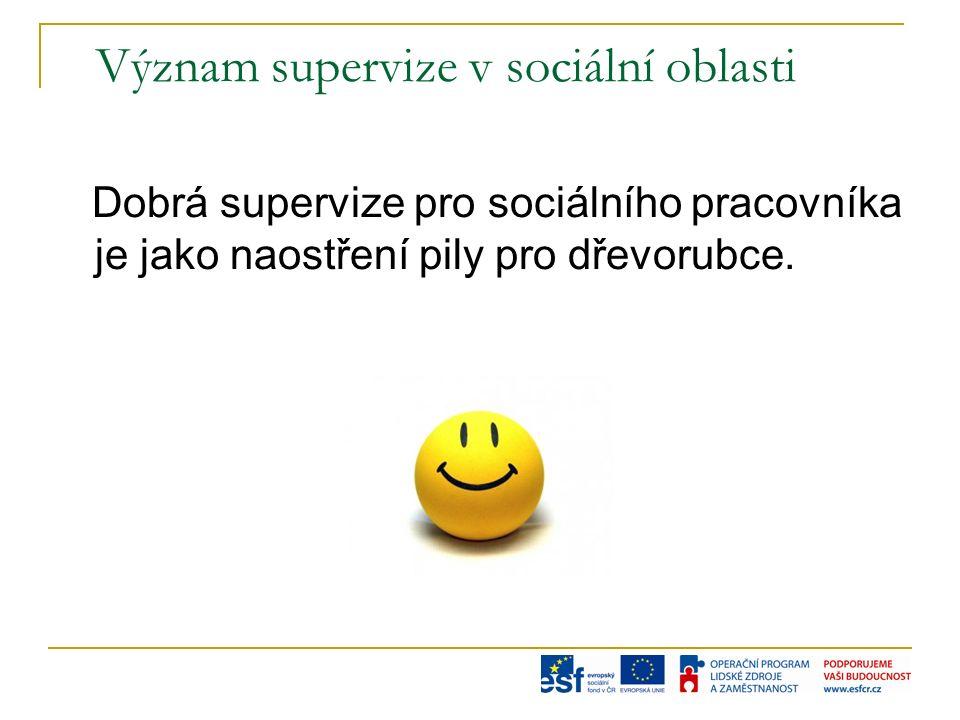 Význam supervize v sociální oblasti Dobrá supervize pro sociálního pracovníka je jako naostření pily pro dřevorubce.