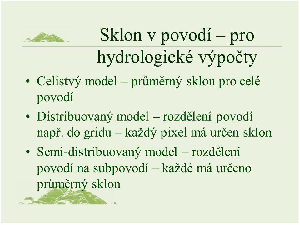 Sklon v povodí – pro hydrologické výpočty Celistvý model – průměrný sklon pro celé povodí Distribuovaný model – rozdělení povodí např.