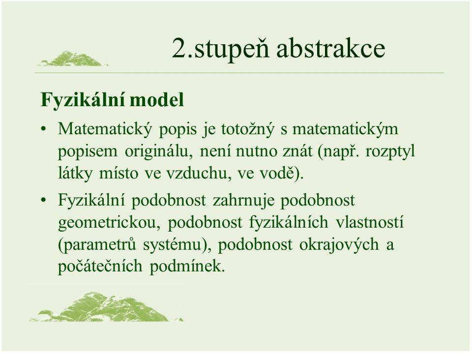 2.stupeň abstrakce Fyzikální model Matematický popis je totožný s matematickým popisem originálu, není nutno znát (např.