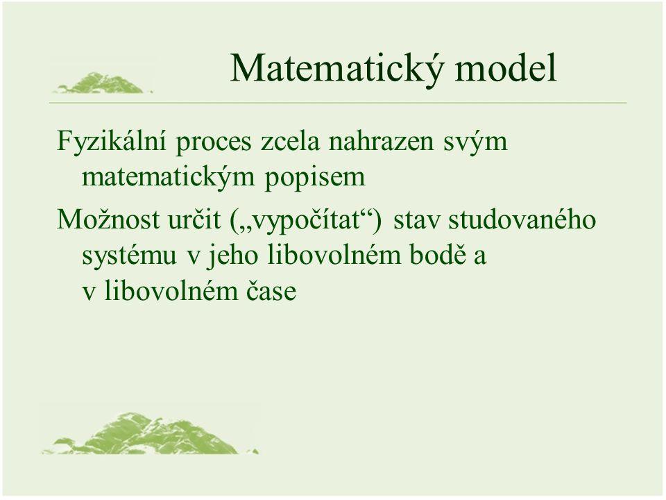 """Matematický model Fyzikální proces zcela nahrazen svým matematickým popisem Možnost určit (""""vypočítat ) stav studovaného systému v jeho libovolném bodě a v libovolném čase"""