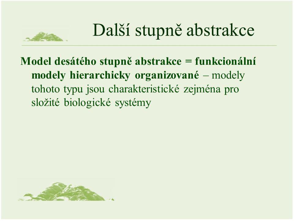 Další stupně abstrakce Model desátého stupně abstrakce = funkcionální modely hierarchicky organizované – modely tohoto typu jsou charakteristické zejména pro složité biologické systémy