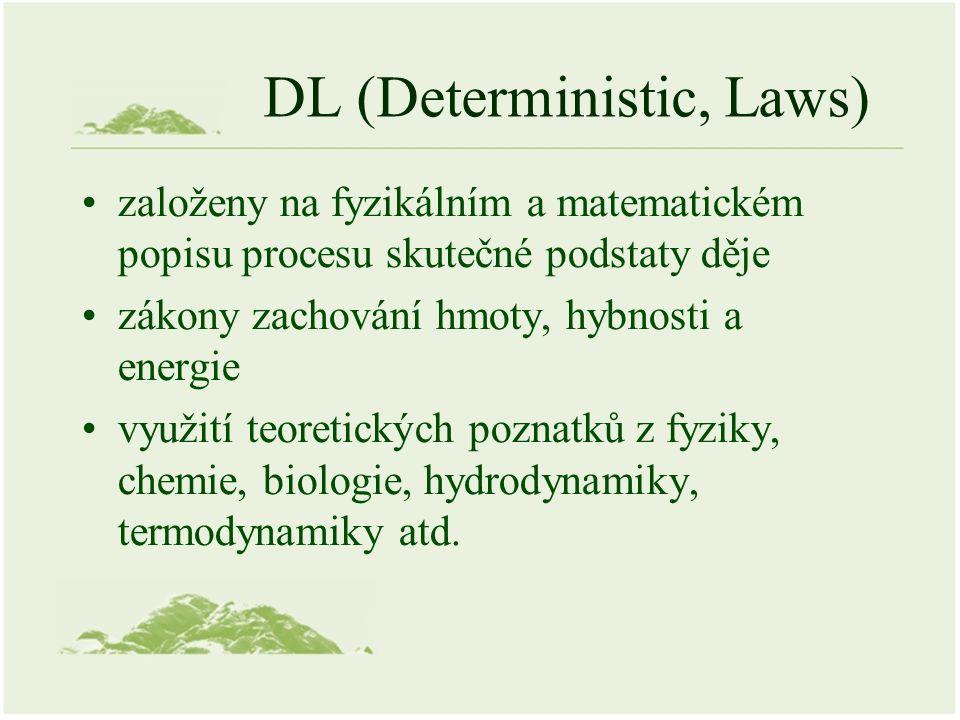DL (Deterministic, Laws) založeny na fyzikálním a matematickém popisu procesu skutečné podstaty děje zákony zachování hmoty, hybnosti a energie využití teoretických poznatků z fyziky, chemie, biologie, hydrodynamiky, termodynamiky atd.