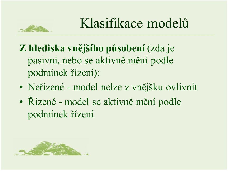 Klasifikace modelů Z hlediska vnějšího působení (zda je pasivní, nebo se aktivně mění podle podmínek řízení): Neřízené - model nelze z vnějšku ovlivnit Řízené - model se aktivně mění podle podmínek řízení