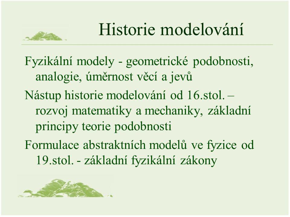 Historie modelování Fyzikální modely - geometrické podobnosti, analogie, úměrnost věcí a jevů Nástup historie modelování od 16.stol.