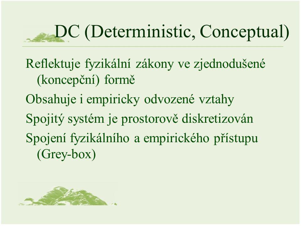 DC (Deterministic, Conceptual) Reflektuje fyzikální zákony ve zjednodušené (koncepční) formě Obsahuje i empiricky odvozené vztahy Spojitý systém je prostorově diskretizován Spojení fyzikálního a empirického přístupu (Grey-box)