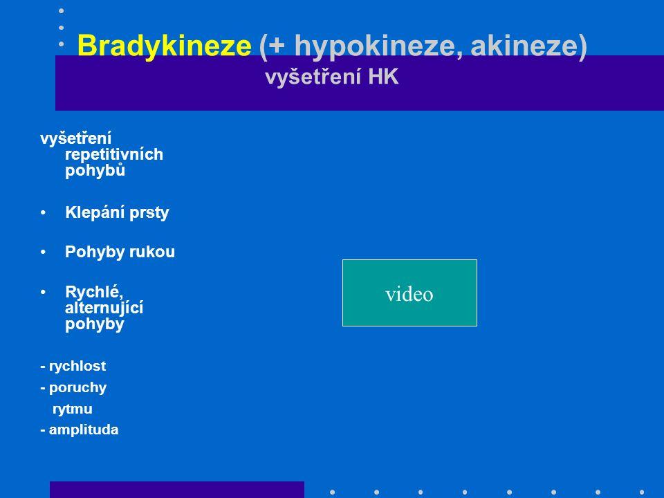 Bradykineze (+ hypokineze, akineze) vyšetření HK vyšetření repetitivních pohybů Klepání prsty Pohyby rukou Rychlé, alternující pohyby - rychlost - por