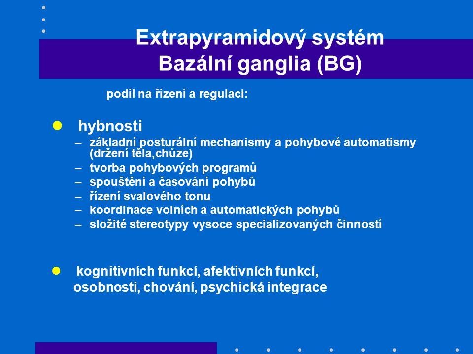 Motorický okruh BG Dopaminergní dráhy Nigrostriatální dráha - klíčová úloha při modulaci funkce systému BG 2 paralelní dráhy: Přímá dráha – tlumivě působí na výstupní jádra (GABA) Nepřímá dráha – působí excitačně na výst.