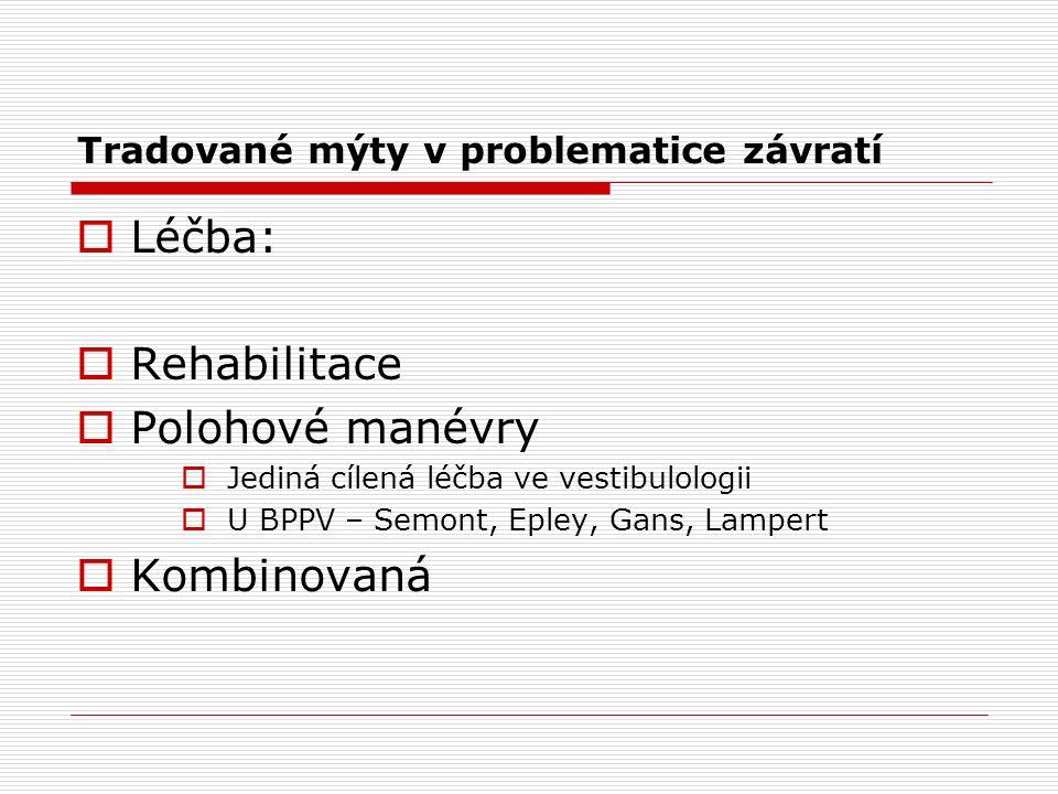 Tradované mýty v problematice závratí  Léčba:  Rehabilitace  Polohové manévry  Jediná cílená léčba ve vestibulologii  U BPPV – Semont, Epley, Gans, Lampert  Kombinovaná
