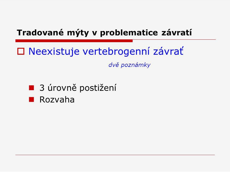 Tradované mýty v problematice závratí  Neexistuje vertebrogenní závrať dvě poznámky 3 úrovně postižení Rozvaha