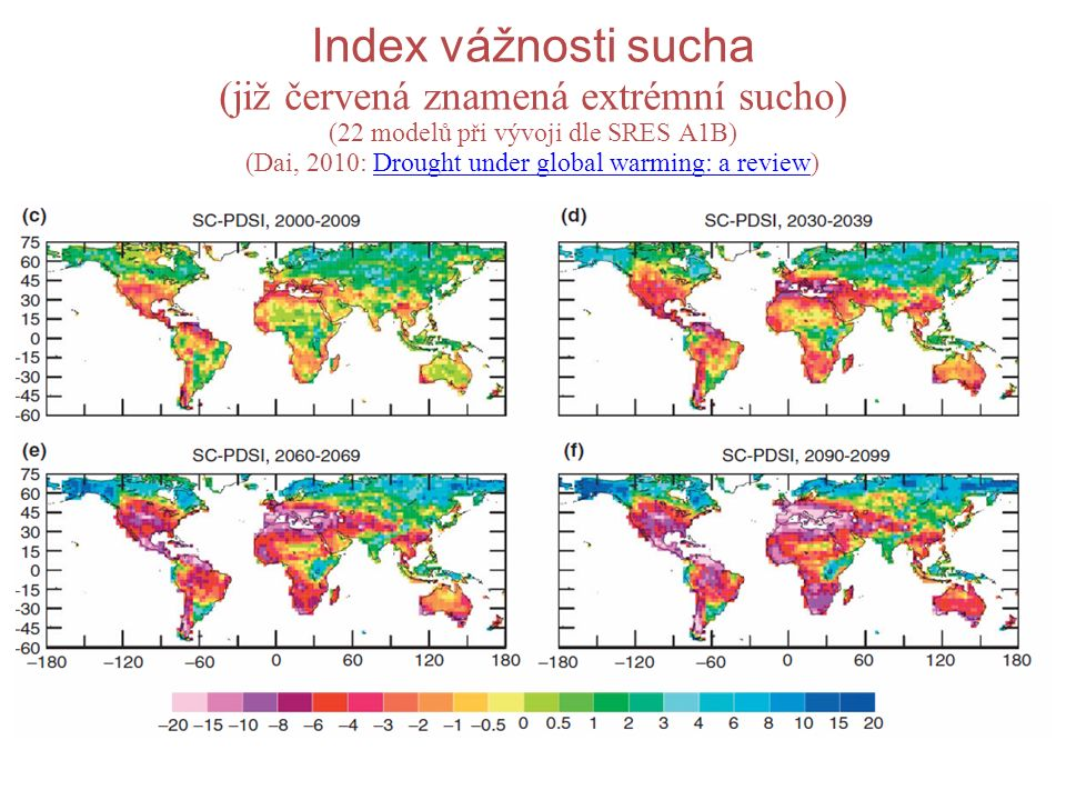 Index vážnosti sucha (již červená znamená extrémní sucho) (22 modelů při vývoji dle SRES A1B) (Dai, 2010: Drought under global warming: a review)Drought under global warming: a review