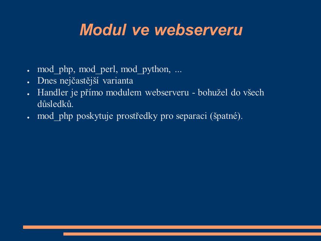 Modul ve webserveru ● mod_php, mod_perl, mod_python,...