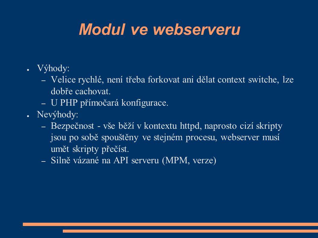Modul ve webserveru ● Výhody: – Velice rychlé, není třeba forkovat ani dělat context switche, lze dobře cachovat.