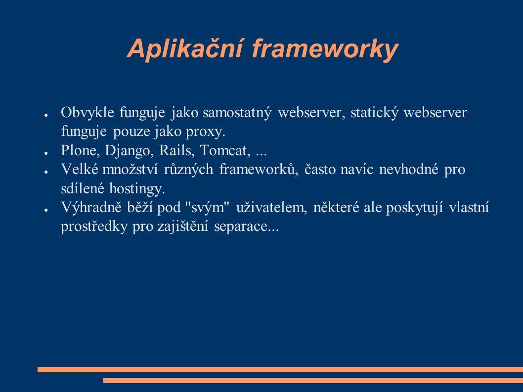 Aplikační frameworky ● Obvykle funguje jako samostatný webserver, statický webserver funguje pouze jako proxy.