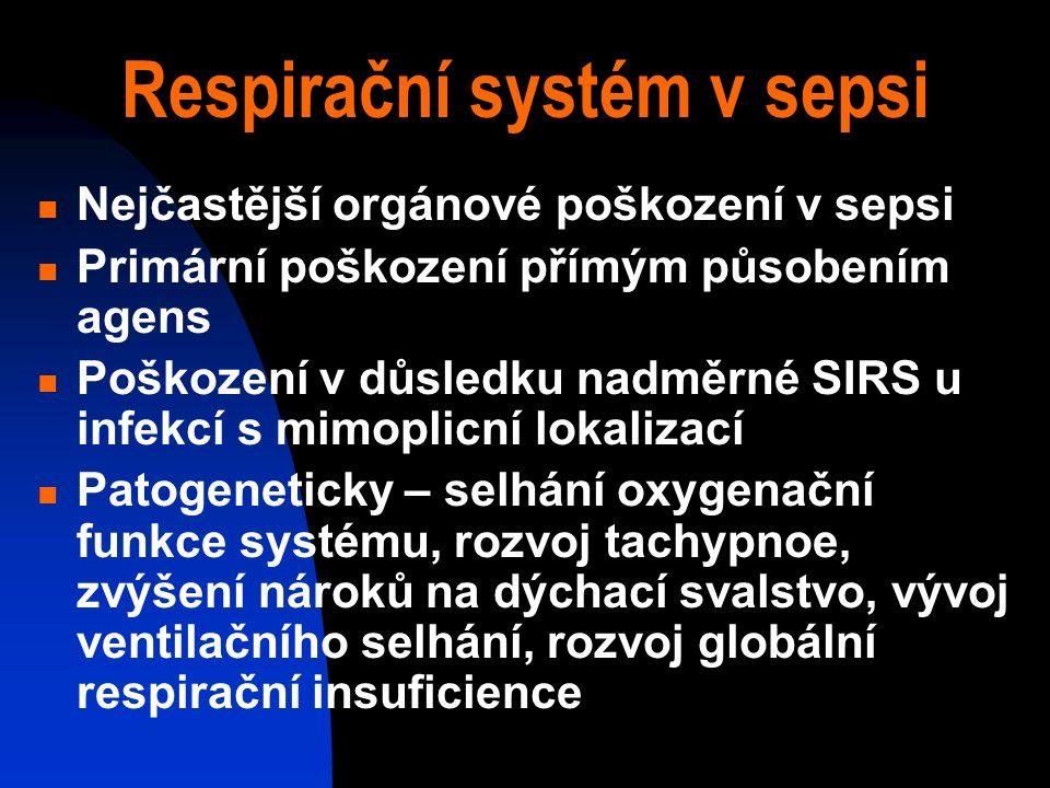 Respirační systém v sepsi Nejčastější orgánové poškození v sepsi Primární poškození přímým působením agens Poškození v důsledku nadměrné SIRS u infekcí s mimoplicní lokalizací Patogeneticky – selhání oxygenační funkce systému, rozvoj tachypnoe, zvýšení nároků na dýchací svalstvo, vývoj ventilačního selhání, rozvoj globální respirační insuficience