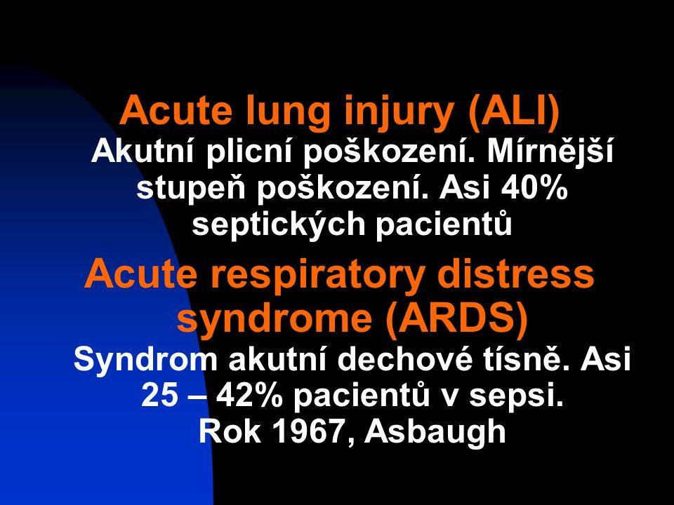 Acute lung injury (ALI) Akutní plicní poškození.Mírnější stupeň poškození.