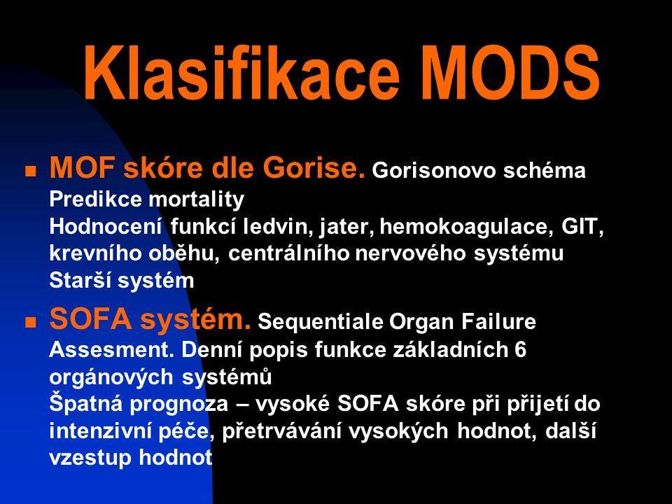 Klasifikace MODS MOF skóre dle Gorise.