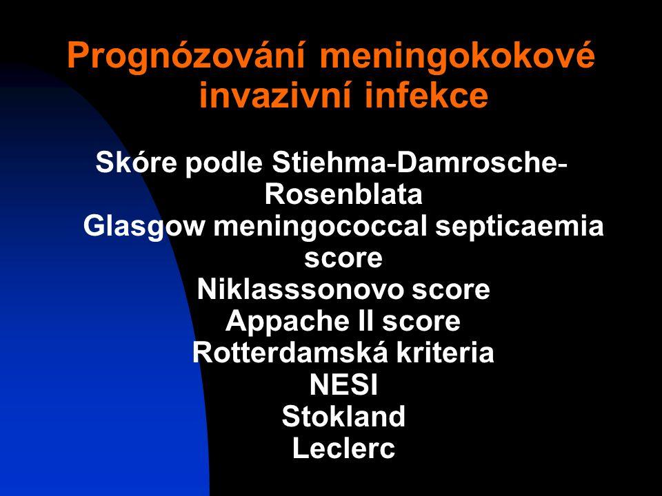 Prognózování meningokokové invazivní infekce Skóre podle Stiehma - Damrosche - Rosenblata Glasgow meningococcal septicaemia score Niklasssonovo score Appache II score Rotterdamská kriteria NESI Stokland Leclerc