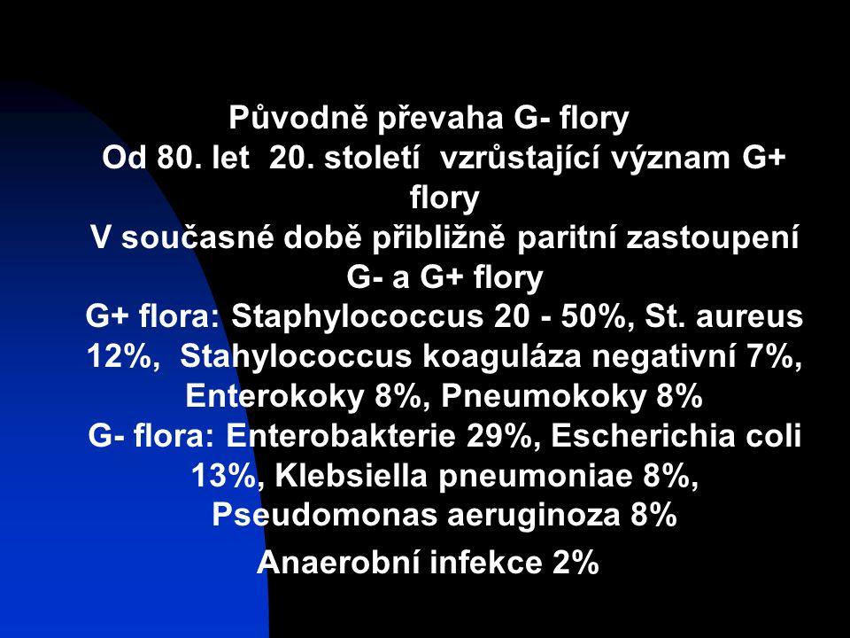 Původně převaha G- flory Od 80.let 20.