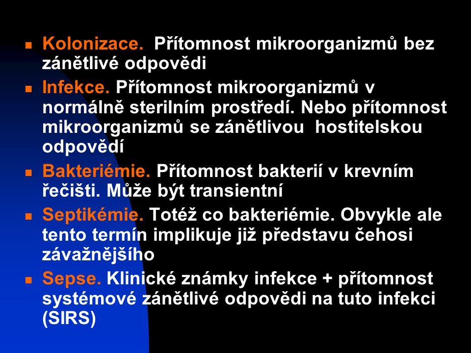 Kolonizace.Přítomnost mikroorganizmů bez zánětlivé odpovědi Infekce.