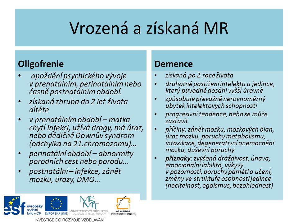 Stupně MR Lehká MR (IQ 50-70) Středně těžká MR (IQ 35-49) Těžká MR (20-34 IQ) Hluboká MR (IQ 0-10)