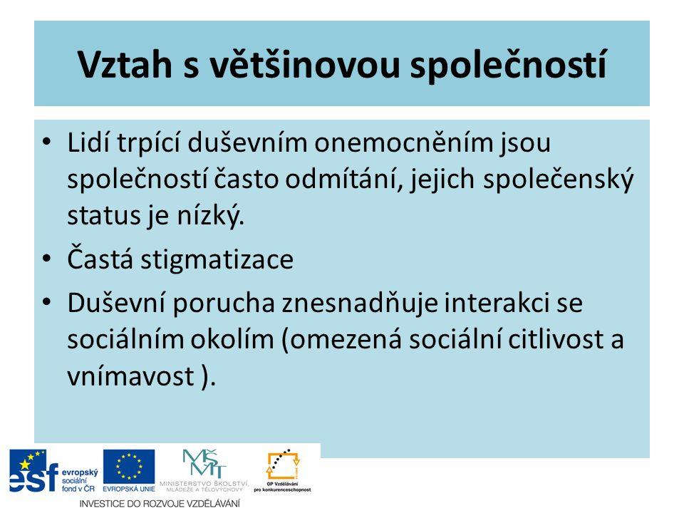 Vztah s většinovou společností Lidí trpící duševním onemocněním jsou společností často odmítání, jejich společenský status je nízký.