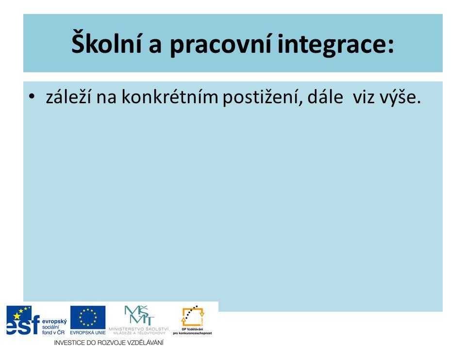 Školní a pracovní integrace: záleží na konkrétním postižení, dále viz výše.