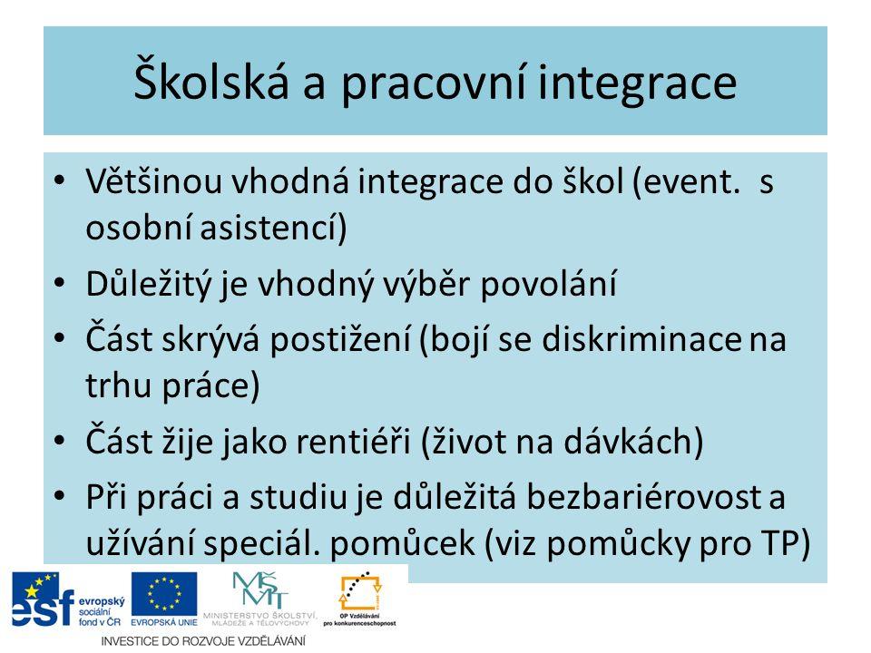 Školská a pracovní integrace Většinou vhodná integrace do škol (event.