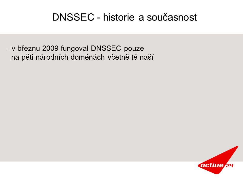 DNSSEC - historie a současnost - v březnu 2009 fungoval DNSSEC pouze na pěti národních doménách včetně té naší