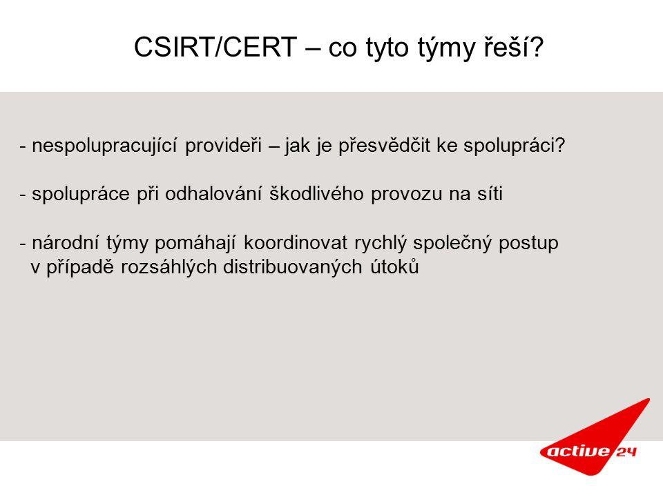 CSIRT/CERT – co tyto týmy řeší. - nespolupracující provideři – jak je přesvědčit ke spolupráci.