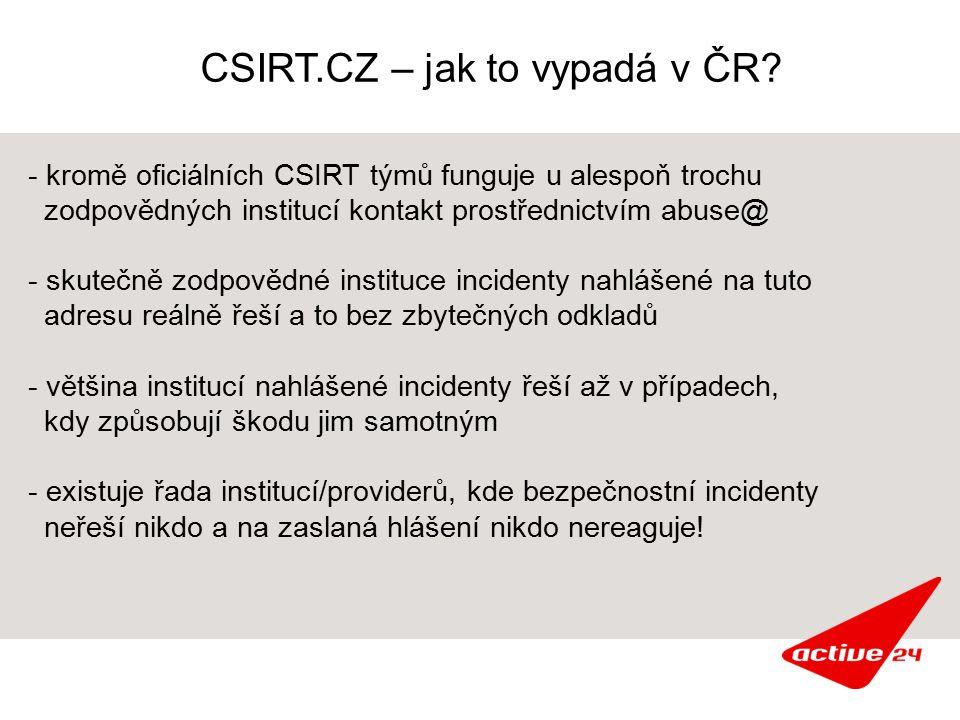 CSIRT.CZ – jak to vypadá v ČR? - kromě oficiálních CSIRT týmů funguje u alespoň trochu zodpovědných institucí kontakt prostřednictvím abuse@ - skutečn
