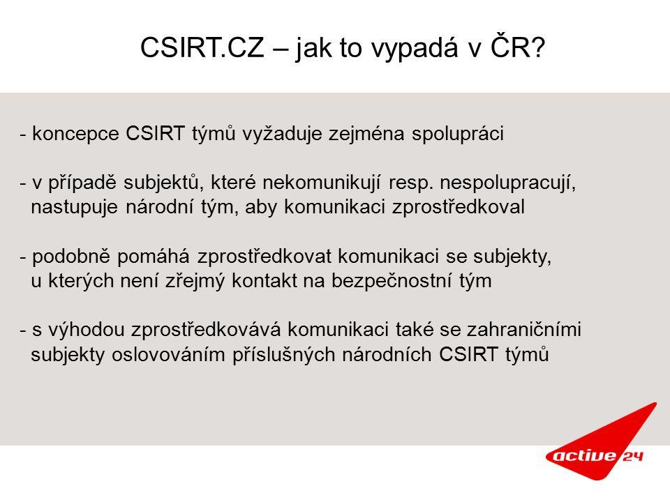 CSIRT.CZ – jak to vypadá v ČR? - koncepce CSIRT týmů vyžaduje zejména spolupráci - v případě subjektů, které nekomunikují resp. nespolupracují, nastup