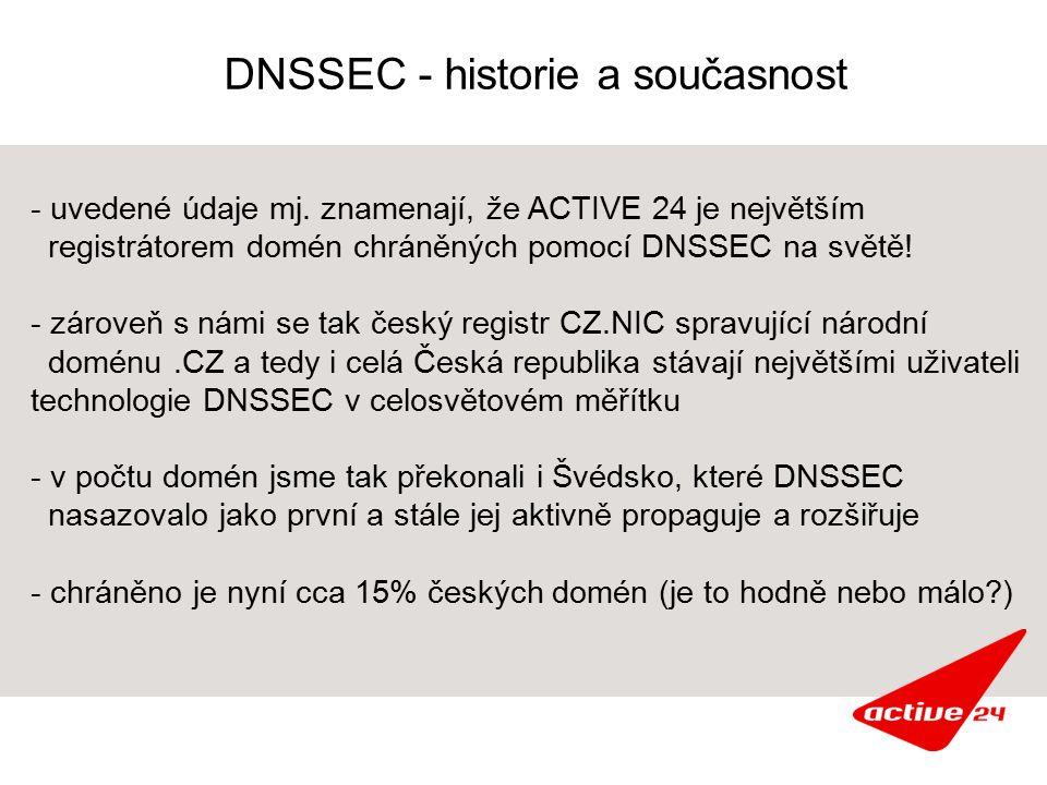 DNSSEC - historie a současnost - uvedené údaje mj. znamenají, že ACTIVE 24 je největším registrátorem domén chráněných pomocí DNSSEC na světě! - zárov