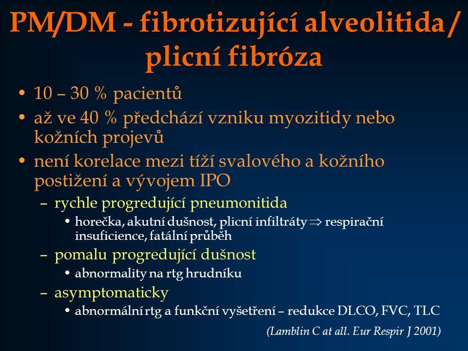 PM/DM - fibrotizující alveolitida / plicní fibróza 10 – 30 % pacientů až ve 40 % předchází vzniku myozitidy nebo kožních projevů není korelace mezi tí