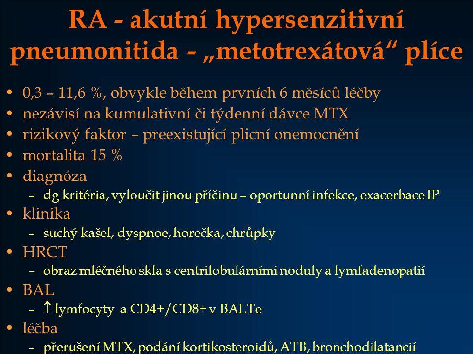 """RA - akutní hypersenzitivní pneumonitida - """"metotrexátová"""" plíce 0,3 – 11,6 %, obvykle během prvních 6 měsíců léčby nezávisí na kumulativní či týdenní"""