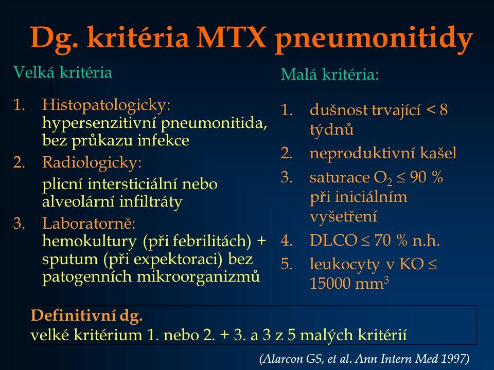 Dg. kritéria MTX pneumonitidy Velká kritéria 1.Histopatologicky: hypersenzitivní pneumonitida, bez průkazu infekce 2.Radiologicky: plicní intersticiál