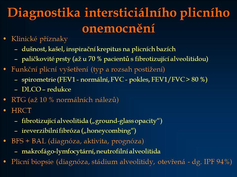 Diagnostika intersticiálního plicního onemocnění Klinické příznaky –dušnost, kašel, inspirační krepitus na plicních bazích –paličkovité prsty (až u 70