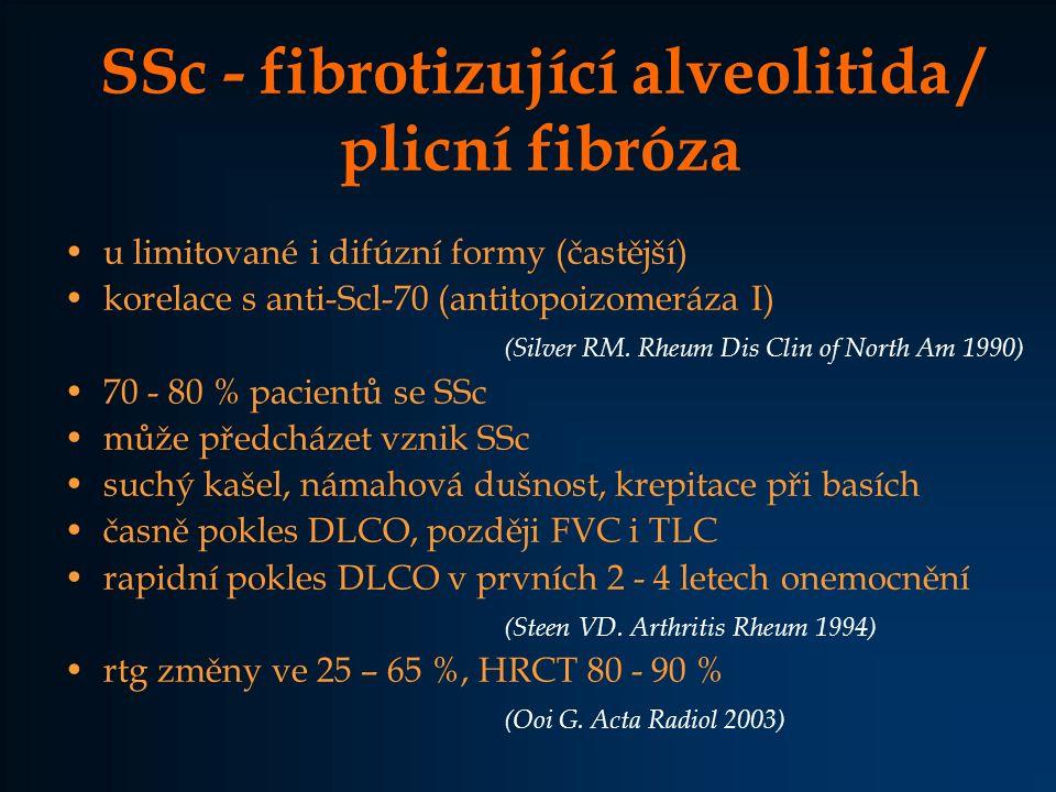SSc intersticiální plicní onemocnění žena 63 l 1.příznaky v 50ti letech Raynaud, recid.