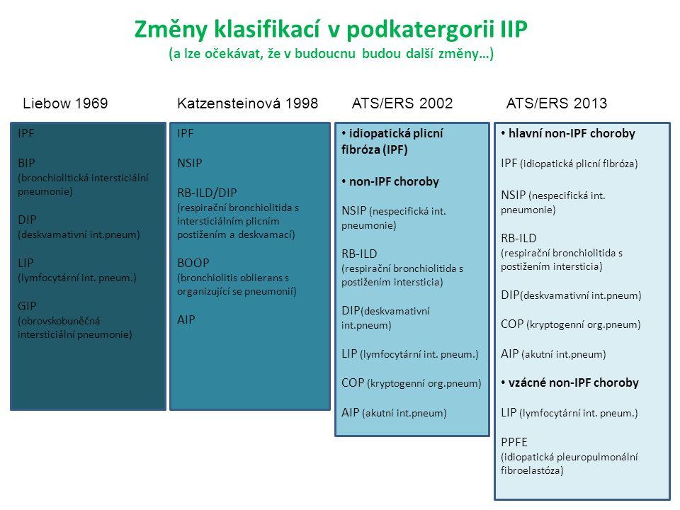 IPF BIP (bronchiolitická intersticiální pneumonie) DIP (deskvamativní int.pneum) LIP (lymfocytární int.