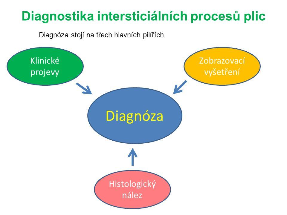 Diagnostika intersticiálních procesů plic Diagnóza Klinické projevy Zobrazovací vyšetření Histologický nález Diagnóza stojí na třech hlavních pilířích