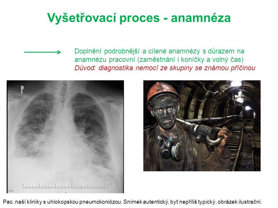 Doplnění podrobnější a cílené anamnézy s důrazem na anamnézu pracovní (zaměstnání i koníčky a volný čas) Důvod: diagnostika nemocí ze skupiny se známou příčinou Vyšetřovací proces - anamnéza Pac.