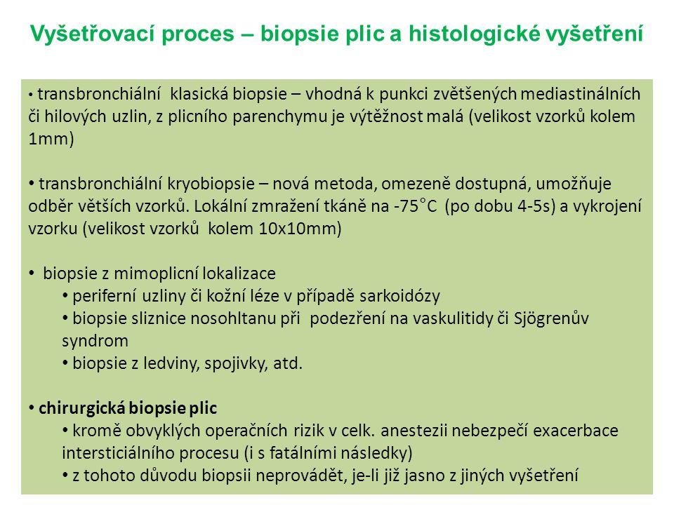 Vyšetřovací proces – biopsie plic a histologické vyšetření transbronchiální klasická biopsie – vhodná k punkci zvětšených mediastinálních či hilových uzlin, z plicního parenchymu je výtěžnost malá (velikost vzorků kolem 1mm) transbronchiální kryobiopsie – nová metoda, omezeně dostupná, umožňuje odběr větších vzorků.