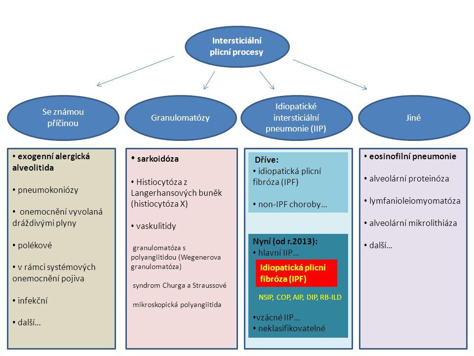 Intersticiální plicní procesy Idiopatické intersticiální pneumonie (IIP) JinéGranulomatózy Se známou příčinou exogenní alergická alveolitida pneumokoniózy onemocnění vyvolaná dráždivými plyny polékové v rámci systémových onemocnění pojiva infekční další… sarkoidóza Histiocytóza z Langerhansových buněk (histiocytóza X) vaskulitidy granulomatóza s polyangiitidou (Wegenerova granulomatóza) syndrom Churga a Straussové mikroskopická polyangiitida eosinofilní pneumonie alveolární proteinóza lymfanioleiomyomatóza alveolární mikrolithiáza další… Dříve: idiopatická plicní fibróza (IPF) non-IPF choroby… Nyní (od r.2013): hlavní IIP… NSIP, COP, AIP, DIP, RB-ILD vzácné IIP… neklasifikovatelné Idiopatická plicní fibróza (IPF)