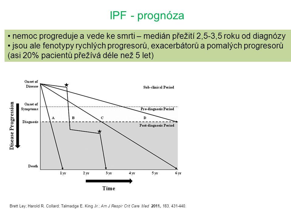 IPF - prognóza nemoc progreduje a vede ke smrti – medián přežití 2,5-3,5 roku od diagnózy jsou ale fenotypy rychlých progresorů, exacerbátorů a pomalých progresorů (asi 20% pacientů přežívá déle než 5 let) Brett Ley; Harold R.