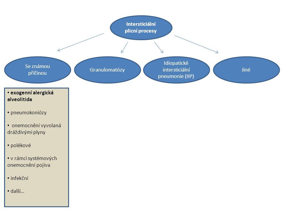 Intersticiální plicní procesy Idiopatické intersticiální pneumonie (IIP) JinéGranulomatózy Se známou příčinou exogenní alergická alveolitida pneumokoniózy onemocnění vyvolaná dráždivými plyny polékové v rámci systémových onemocnění pojiva infekční další…