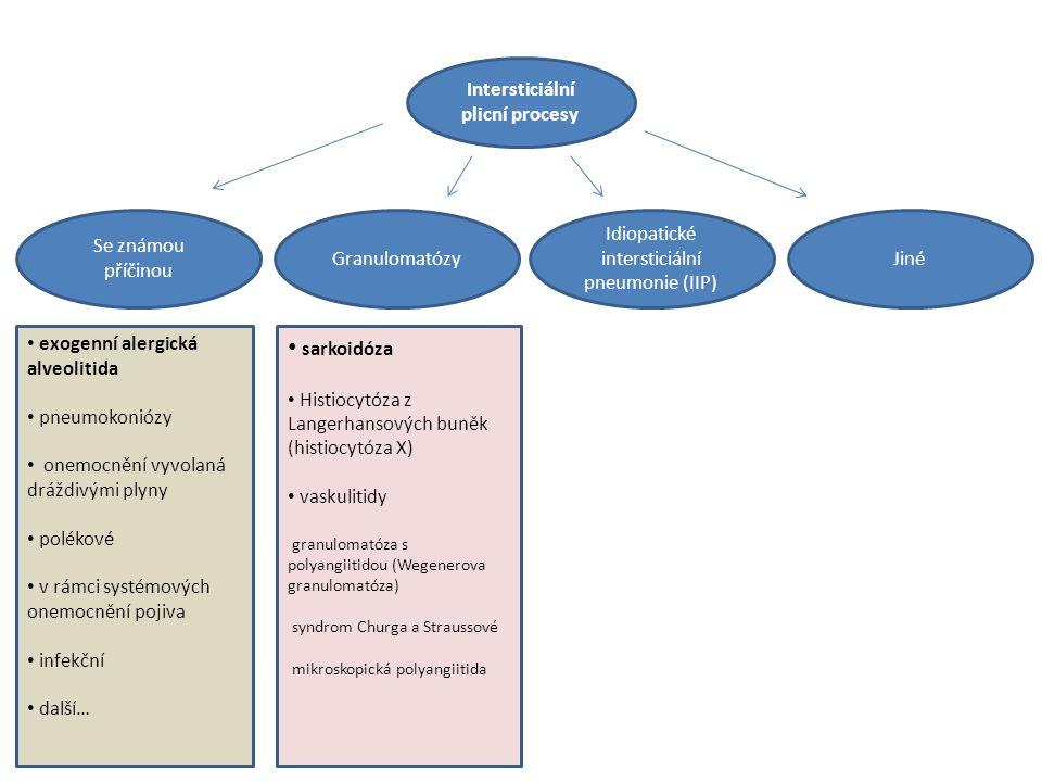 Intersticiální plicní procesy Idiopatické intersticiální pneumonie (IIP) JinéGranulomatózy Se známou příčinou exogenní alergická alveolitida pneumokoniózy onemocnění vyvolaná dráždivými plyny polékové v rámci systémových onemocnění pojiva infekční další… sarkoidóza Histiocytóza z Langerhansových buněk (histiocytóza X) vaskulitidy granulomatóza s polyangiitidou (Wegenerova granulomatóza) syndrom Churga a Straussové mikroskopická polyangiitida