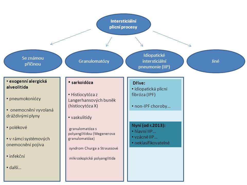 Intersticiální plicní procesy Idiopatické intersticiální pneumonie (IIP) JinéGranulomatózy Se známou příčinou exogenní alergická alveolitida pneumokoniózy onemocnění vyvolaná dráždivými plyny polékové v rámci systémových onemocnění pojiva infekční další… sarkoidóza Histiocytóza z Langerhansových buněk (histiocytóza X) vaskulitidy granulomatóza s polyangiitidou (Wegenerova granulomatóza) syndrom Churga a Straussové mikroskopická polyangiitida Dříve: idiopatická plicní fibróza (IPF) non-IPF choroby… Nyní (od r.2013): hlavní IIP… vzácné IIP… neklasifikovatelné