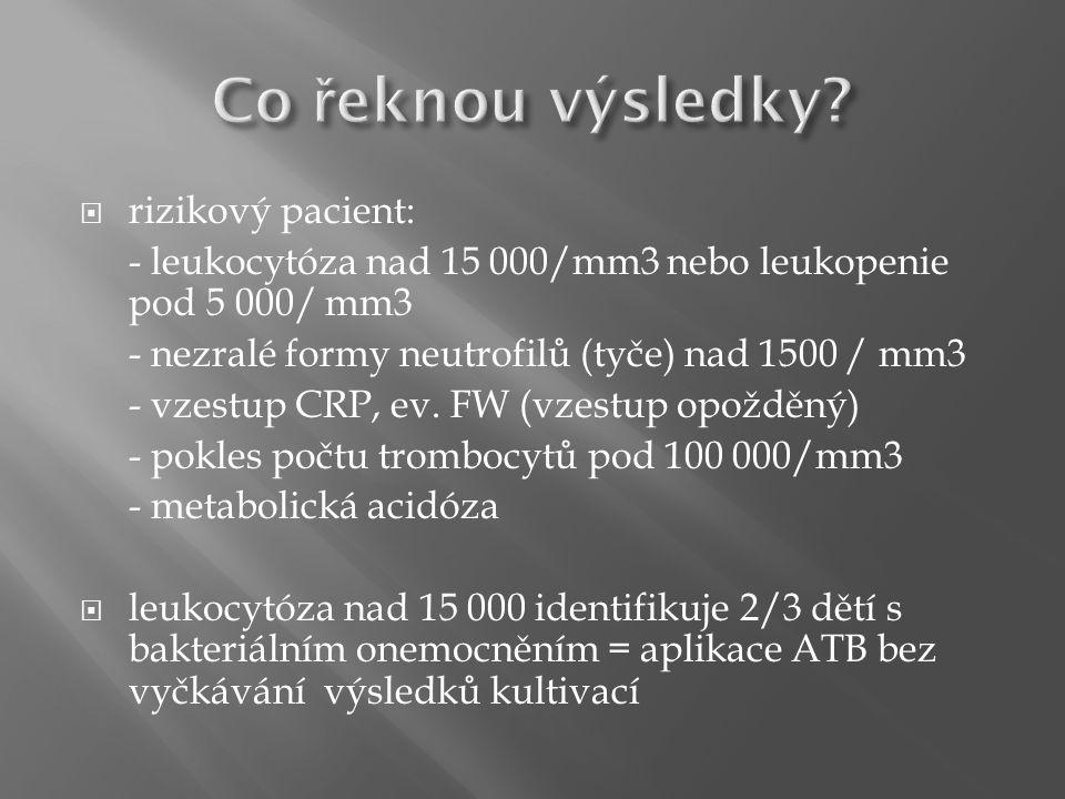  rizikový pacient: - leukocytóza nad 15 000/mm3 nebo leukopenie pod 5 000/ mm3 - nezralé formy neutrofilů (tyče) nad 1500 / mm3 - vzestup CRP, ev.