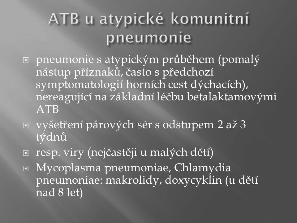  pneumonie s atypickým průběhem (pomalý nástup příznaků, často s předchozí symptomatologií horních cest dýchacích), nereagující na základní léčbu betalaktamovými ATB  vyšetření párových sér s odstupem 2 až 3 týdnů  resp.