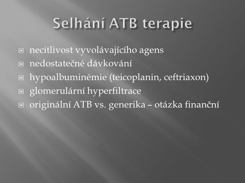  necitlivost vyvolávajícího agens  nedostatečné dávkování  hypoalbuminémie (teicoplanin, ceftriaxon)  glomerulární hyperfiltrace  originální ATB vs.